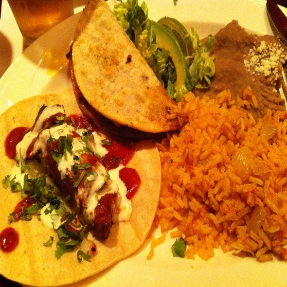 Shrimp And Blackened Ahi Tacos With Rice And Beans - Luibueno's Mexican & Latin Cuisine, Haleiwa, HI