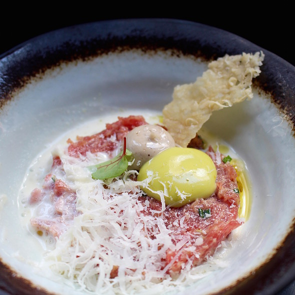 Calf tartar Piemontese style, Parmesan cheese, olive oil and truffle cream @ Restaurant Petossi