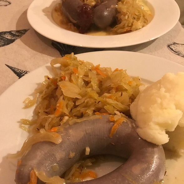 Blood And Liver Sausages, Homemade Sauerkraut And Mashed Potatoes
