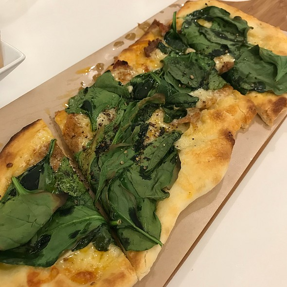 Marinated Pork, Spinach And Cheddar Cheese Pizza