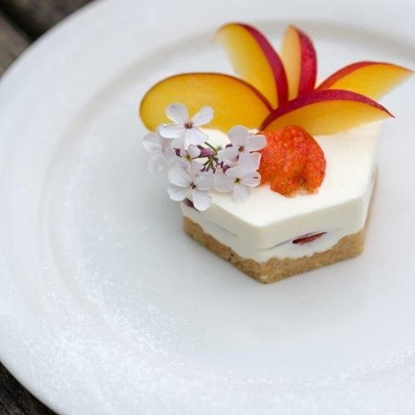 Bavarese di yogurt alla pesca e mango su crumble croccante al miele di acacia
