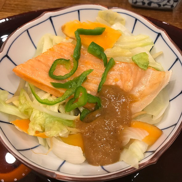 Fried Salmon With Miso Sauce