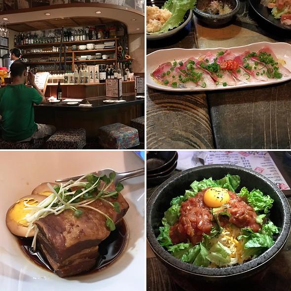 Hamachi Carpacchio, Shoyu Pork Belly, and Taco Rice in a Hot Stone Pot