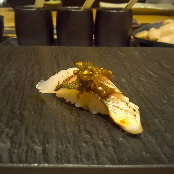Torched Japanese Barracuda Nigiri with Roasted Shishito Peppers