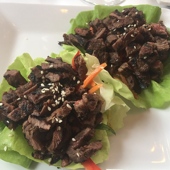 Korean BBQ Beef Tacos with Jasmine Rice and Sesame Vegetables in Lettuce Cups