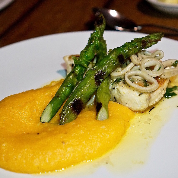Grilled marlin fish sautéed squid, butter, ginger, grilled asparagus, carrot purée