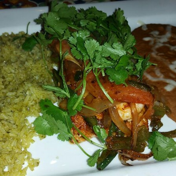 Grilled Salmon & Shrimp With Cilantro Rice And Refried Beans