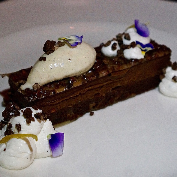 Chocolate torta, pistachio-chocolate mousse, bergamot, cocoa nib, roasted buckwheat gelato