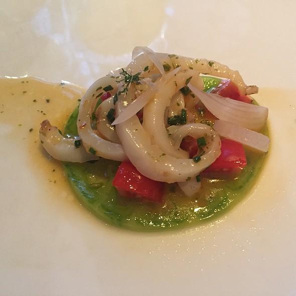calamari, tomato, melon, thai basil, wild leeks, samphire