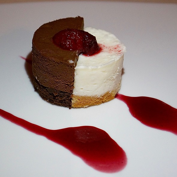 Belgian chocolate cake; coconut mousse cake, strawberry preserves