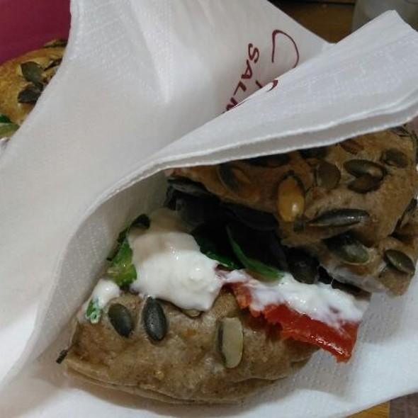Red Salmon And Stracciatella Sandwich
