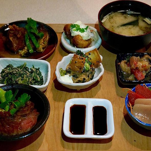 Zen kobachi –miso soup, sashimi, kaisen poke, albacore tuna kaiso seaweed tartare, jidori chicken nanban, Fraser Valley braised pork cheek, aburi flat iron steak, kale goma-ae