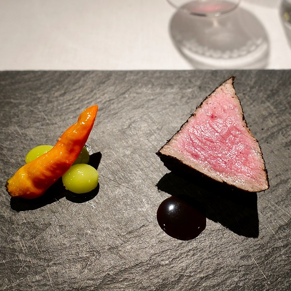 Kobe Beef Cooked in Charcoal with Pepper and Ginkgo Nuts and a Two-Day Beef Jus and Red Wine Reduction