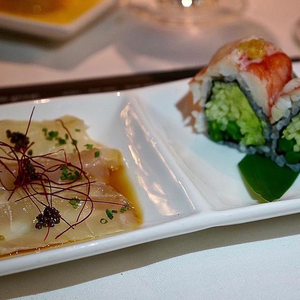 Pacific halibut tataki, Alaskan crab sushi roll