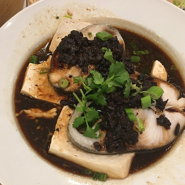 Black Cod With Black Bean Sauce Over Soft Tofu
