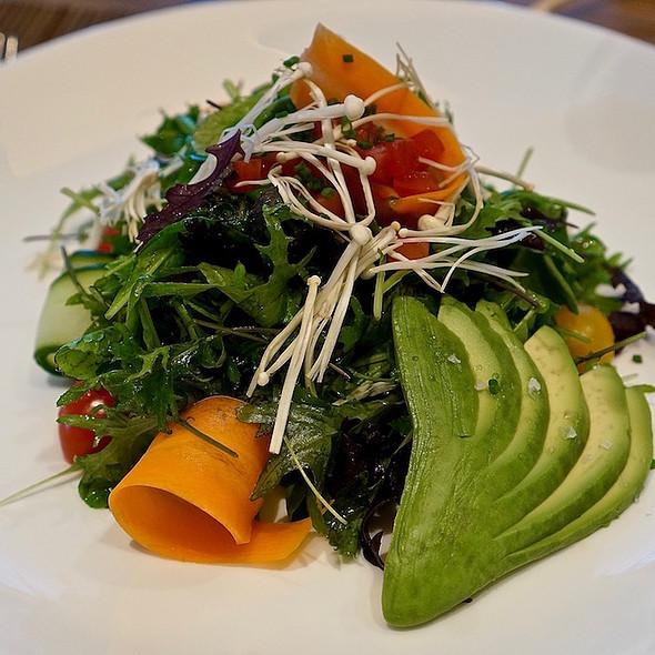 Barnston Island greens salad, enoki mushrooms, tomato, avocado, soy truffle vinaigrette