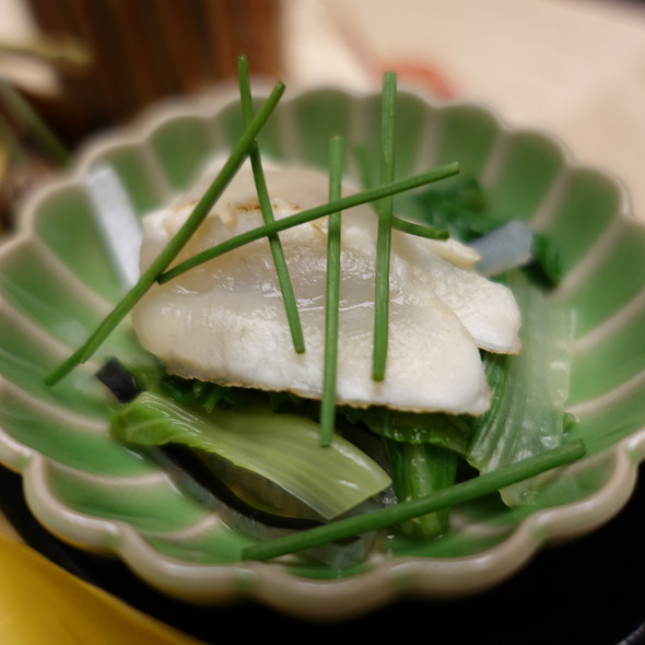 Broiled Fugu (Blowfish) Marinaded with Yuzu Citrus with Green Onion and Shirona Cabbage