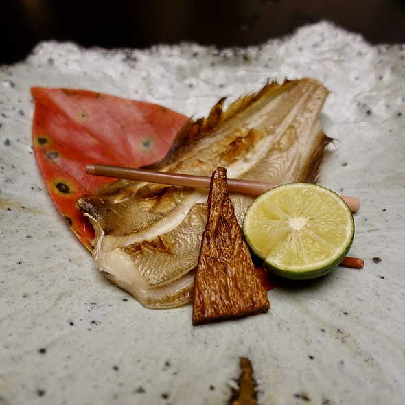 Flounder Grilled with Sake and Soy Sauce, Broiled Hoshiko Sea Cucumber, and Stick Ginger