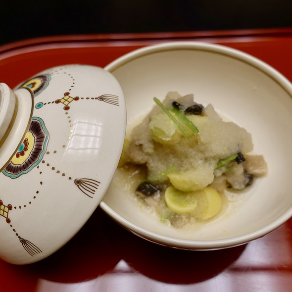 Satoimo Taro Potato Simmered with Grated Daikon Radish, Mushroom, Ginkgo Nuts, Mitsuba Parsley, and Yuzu Flakes