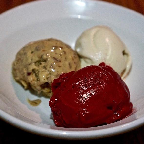 Butter pecan ice cream, cranberry raspberry sorbet, espresso whiskey coconut vegan ice cream