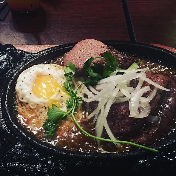 Sizzling Steak, Liver Pate & Egg