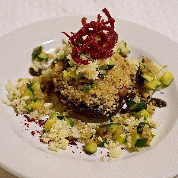 Portobello Relleno – roasted portobello mushroom stuffed with braised beans, herbed quinoa, sautéed zucchini, cauliflower couscous @ Grano De Oro Hotel