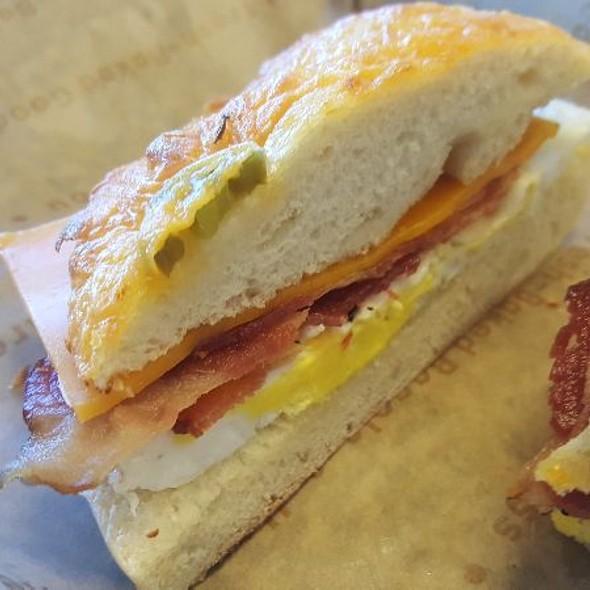Jalpeno Cheddar Bagel Bacon Eggs Cheddar Sandwich