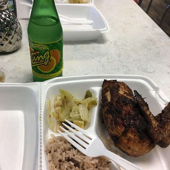 Jerk Chicken, Peas &Rice, Cabba
