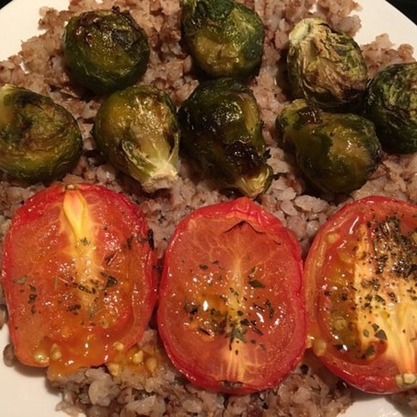 Buckwheat, Grilled Tomatoes and Brussels Sprouts