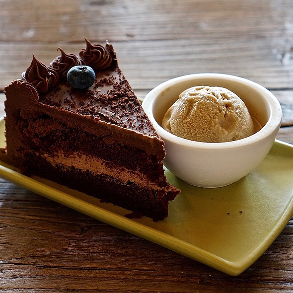 Dark chocolate cake, cappuccino ice cream