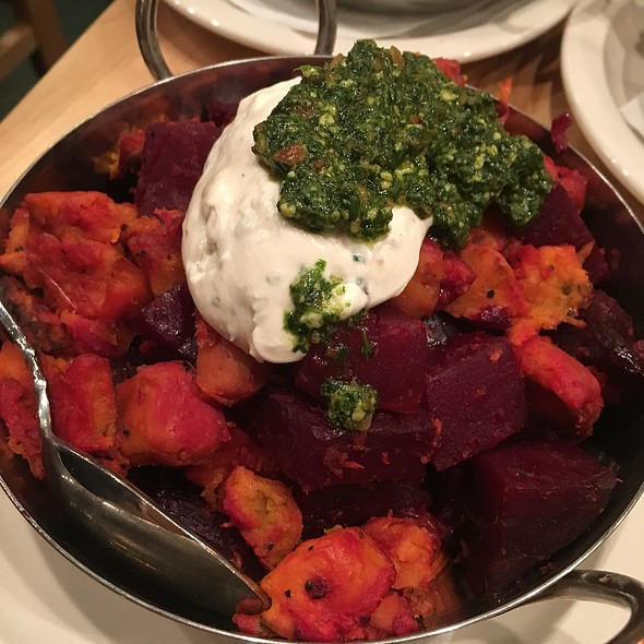 Roasted Beets, Sweet Potatoes, Goat Cheese & Arugula Pest
