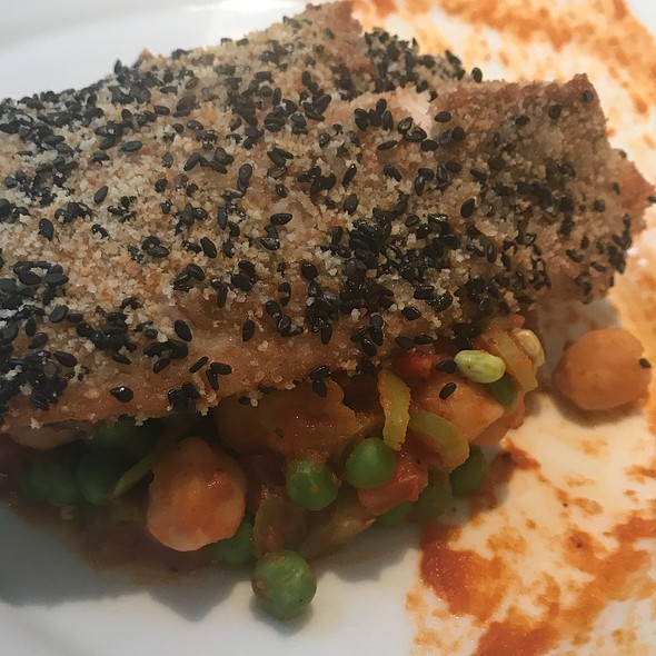 Crusted-Baked Fish With Chickpeas