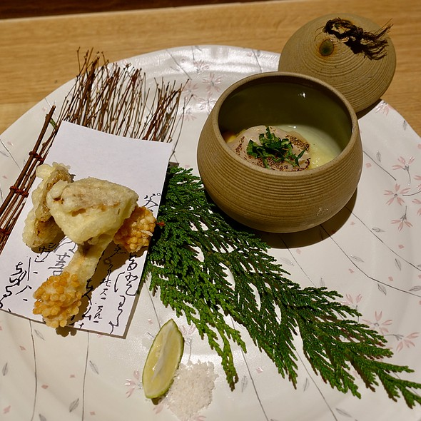 Maitake Mushroom Tempura with Torched Scallop with Apple Puree
