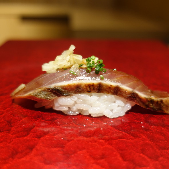 Sea Pike Nigiri with Marinated Kelp