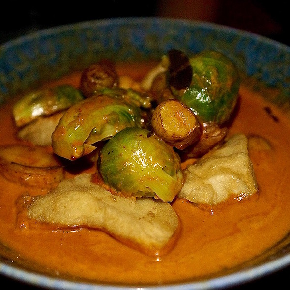 Panang curry, fingerling potatoes, Brussels sprouts, Thai basil, group