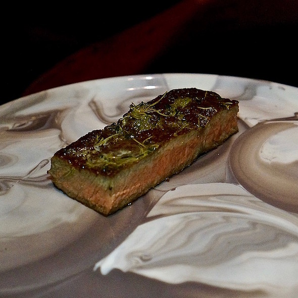 Miyazaki A5 Wagyu ribeye dry-aged with mezcal for 50 days, spruce butter
