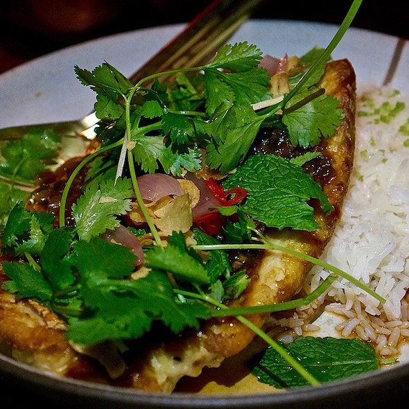 Red snapper, cilantro, chili patis, garlic-ginger rice