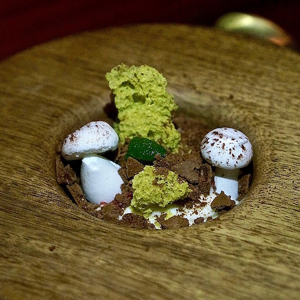 Dirt Cup – cheesecake pudding, dried chocolate mousse, passion fruit, preserved rose, pistachio