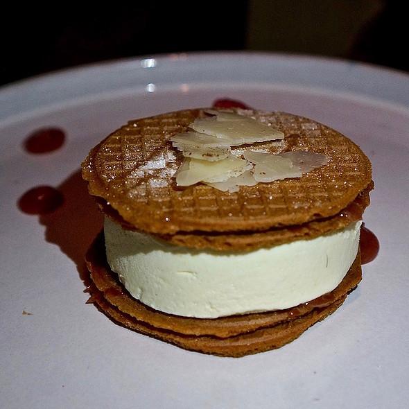 Sweet corn ice cream sando – rhubarb confit, cajeta, local palmetto honey, goat cheese