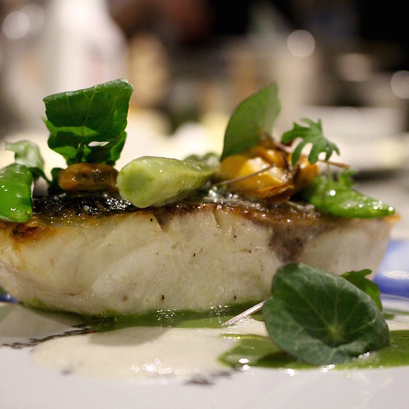 Sea bass, spinach, watercress, fennel, sugar snaps and smoked eel sauce