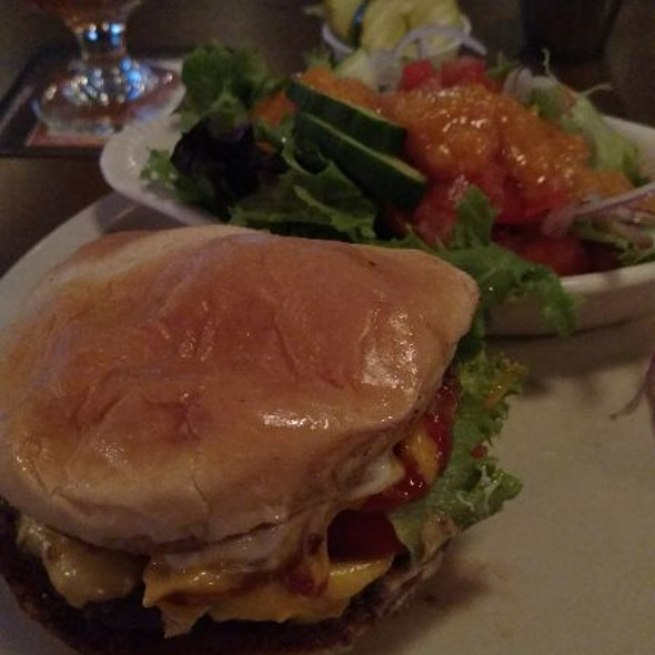 Model T Burger with side salad French Dressing @ Lucky's Taproom & Eatery