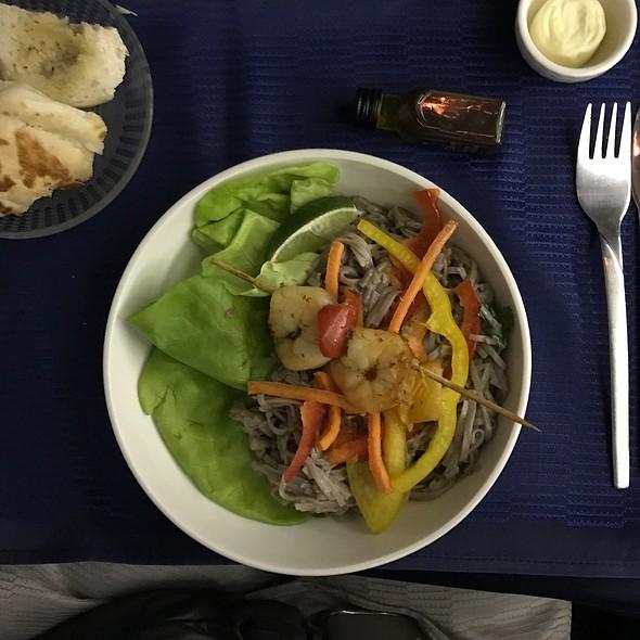 Grilled Shrimps On Soba Noodles