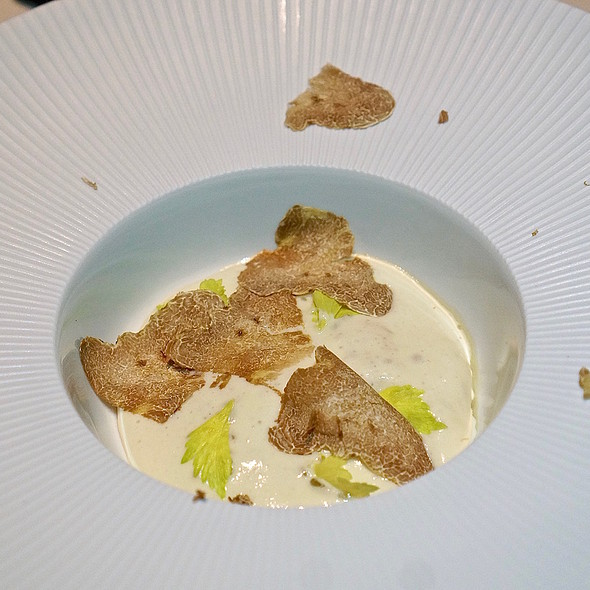White Alba truffle risotto, celery root foam paired with Barolo