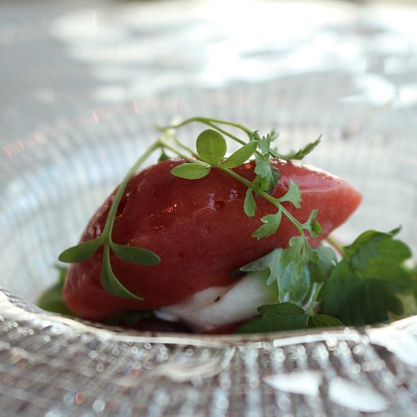 Tomatoes, burrata, basil, tamarillo and sorrel @ VANE Restaurant & Skybar