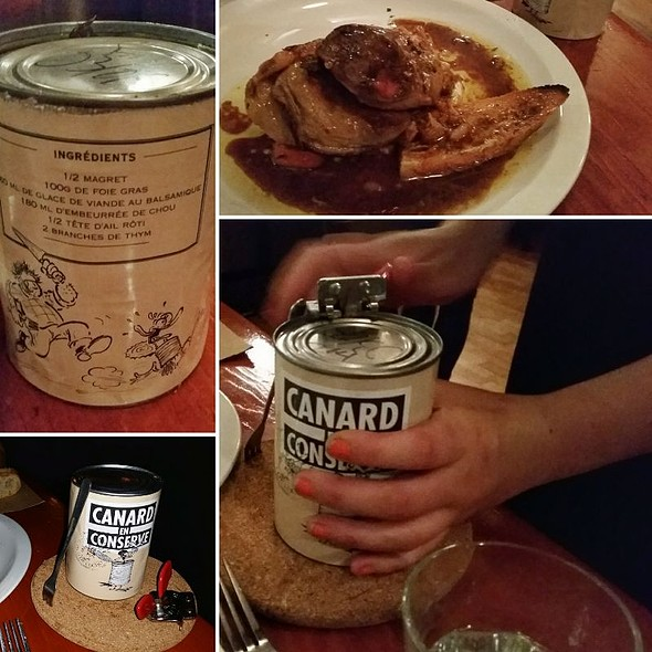 Duck in a can – half magret duck  breast, 100g foie gras, balsamic glaze, buttered cabbage, croutons, vegetable purée, garlic, thyme @ Restaurant au Pied de Cochon