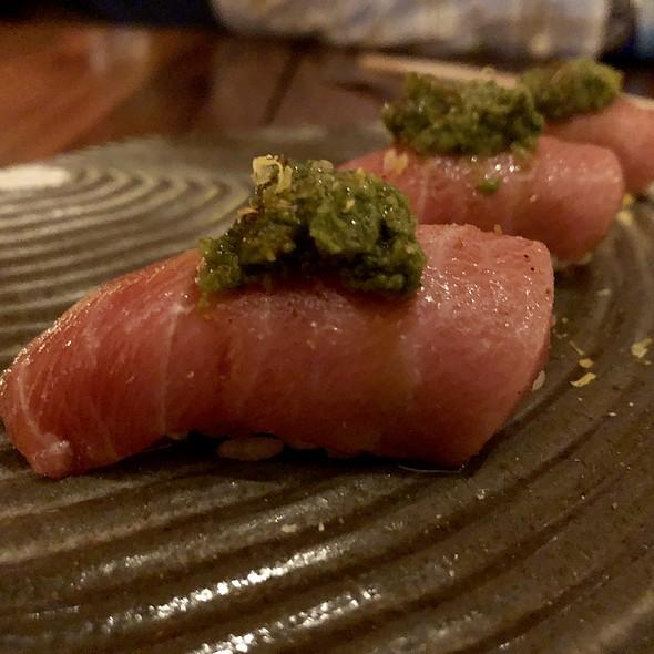 Bluefin Otoro Nigiri with Freshly Grated Wasabi and Micro Sorrel