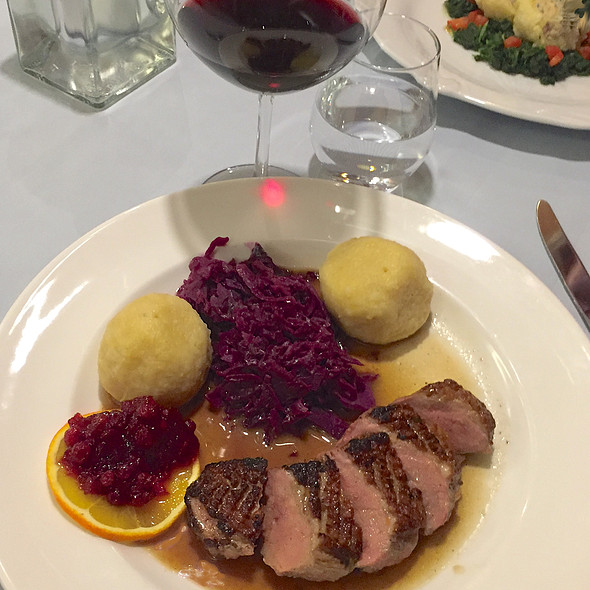 Muscovi duck, potatoe dumplings, cabbage, cranberries