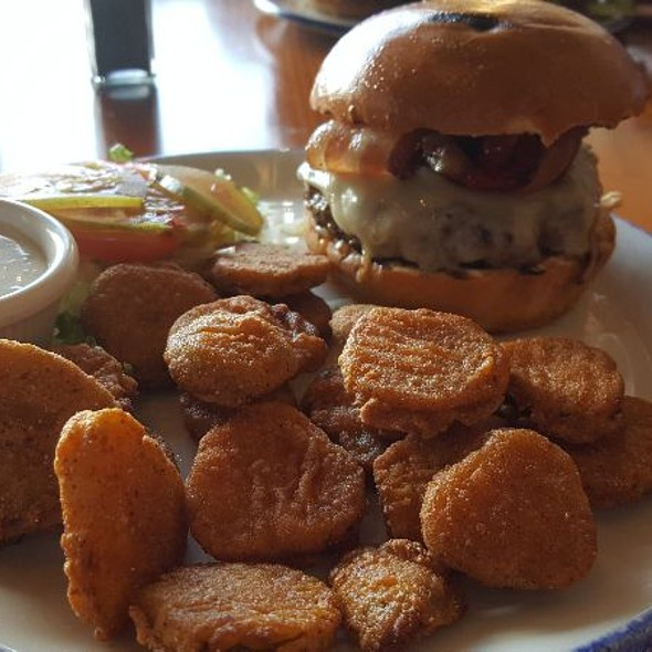 Camp Fire Burger With Fried Pickles