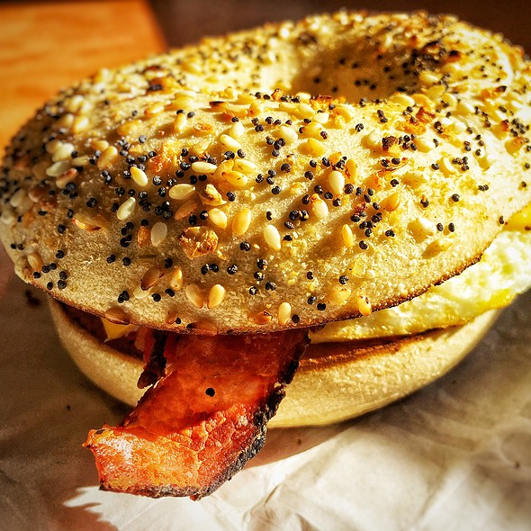 Bacon, Egg & Cheese on an Everything Bagel @ Dunkin' Donuts