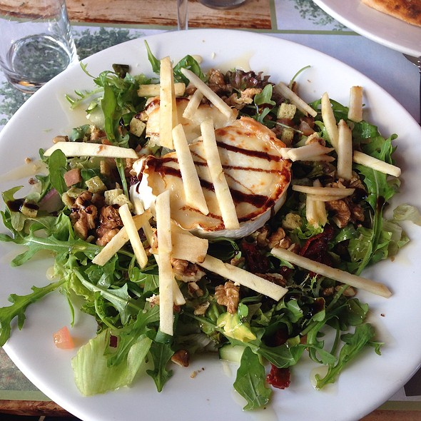 Goat Cheese Salad I love goat diary products and this is no exception, it is little in portion though, the whole salad I mean but the combination is great consisting of goat cheese obviously, lettuce, apple, walnuts, raspberry & balsamic vinegar